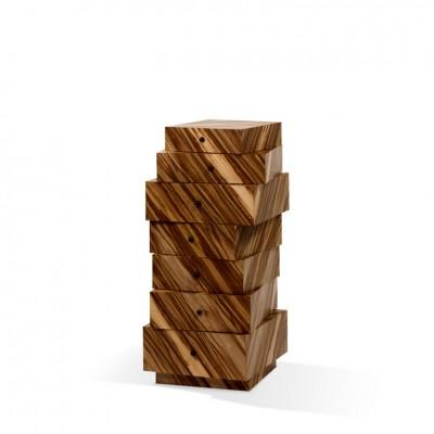 Designermöbel der Röthlisberger Kollektion. Schubladenstapel aus Schichtholz diagonal furniert. Schubladen innen schwarz. Griffe kugelförmig aus schwarzem Duroplast. Ausführung: Furnier aus Santos-Palisander oder Red Gum (Eukalyptus).